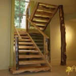 This custom stair case was build from cedar trees that were harvested on site